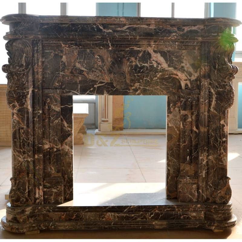 Hand Caved Nero Marquina Marble Fireplace