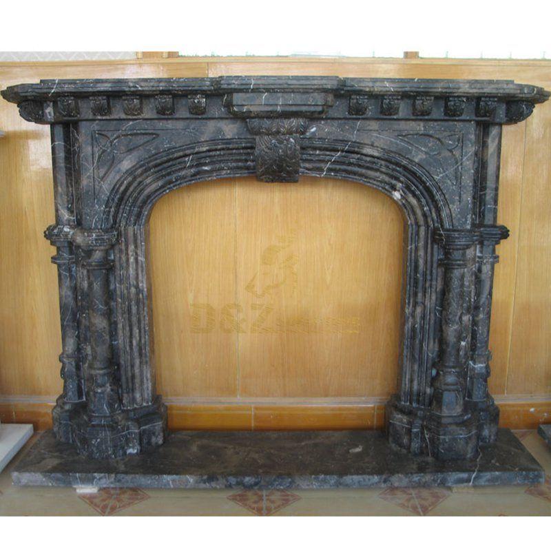 Interior Decorative Black Granite Stone Carved Fireplace