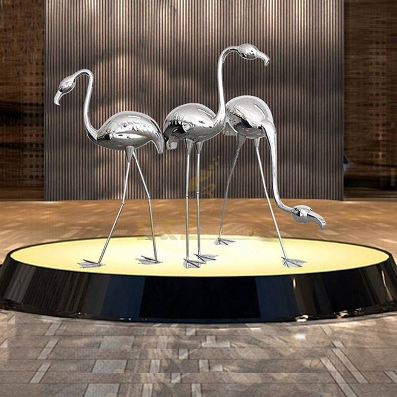 Stainless Steel Flamingo Sculpture