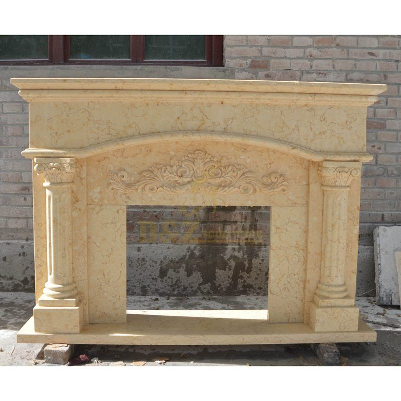 Natural Beige Marble Stone Fireplace