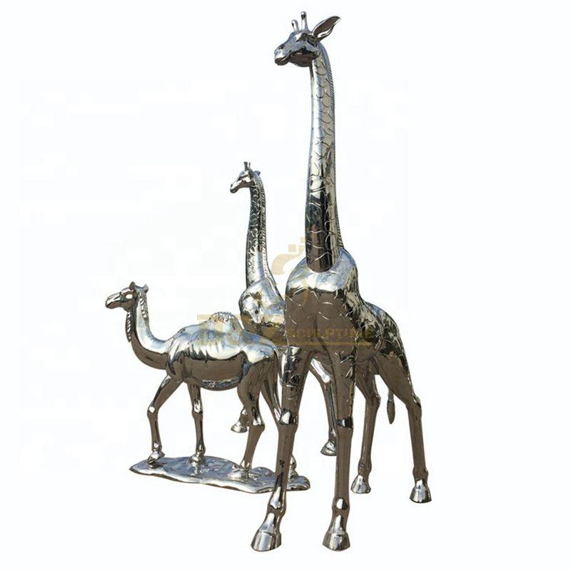 Stainless Steel Giraffe Sculpture Animal Statue