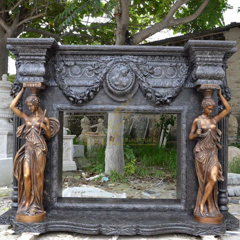 Black Marble Fireplace with Lady Statues