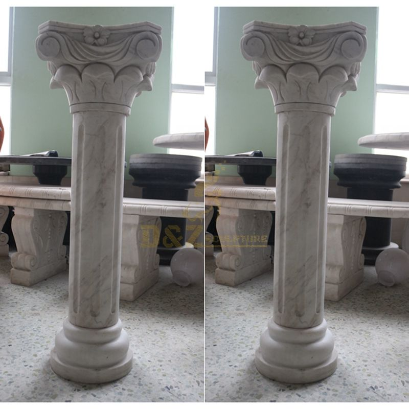 Building And Decoration White Stone Roman Columns