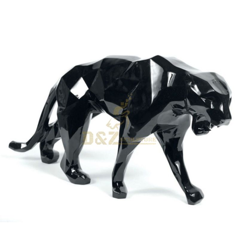 Stainless steel metal animal leopard sculpture