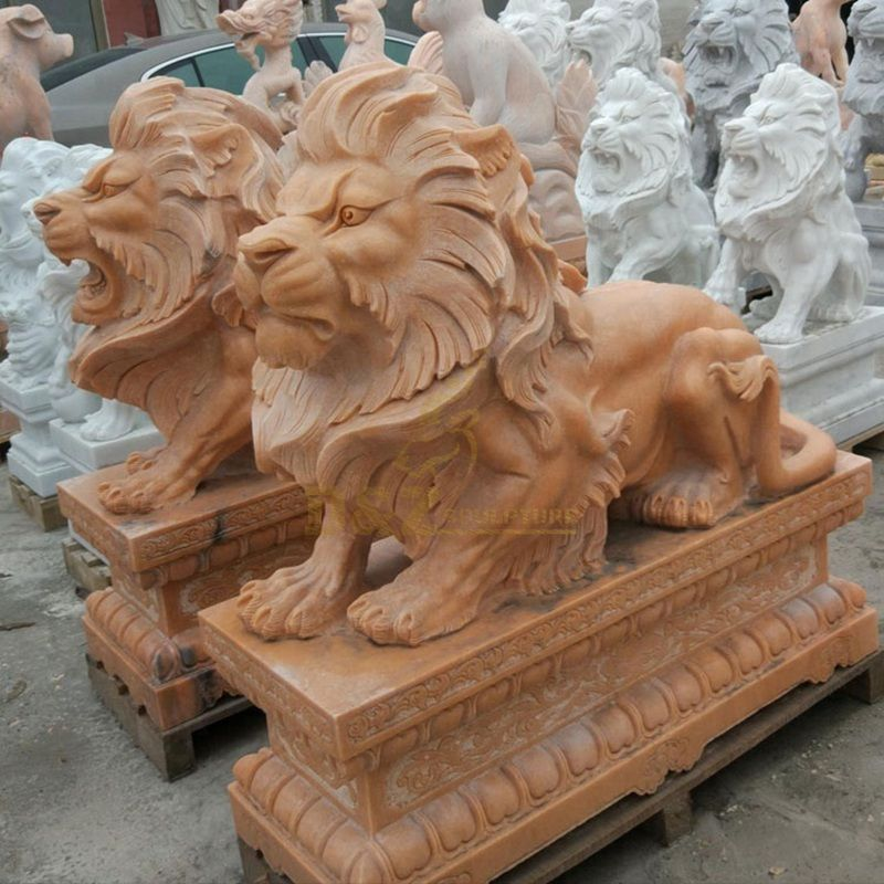 Garden Sculpture Life Size Carved Stone Animals Lion