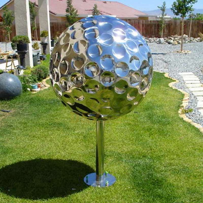 Stainless steel golf ball sculpture for garden decor
