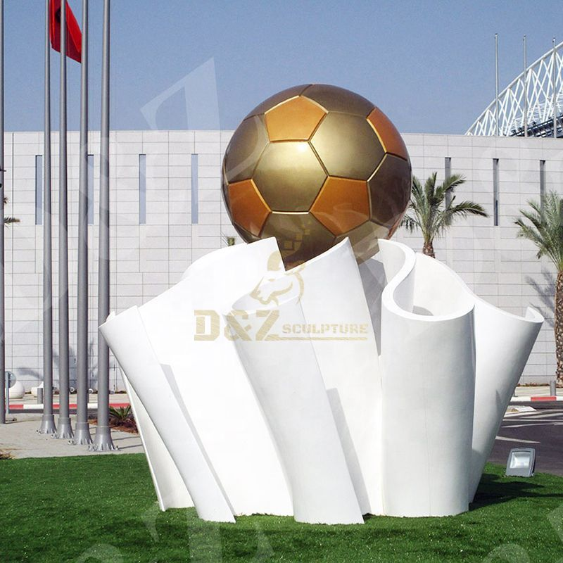 Stainless steel metal football sculpture