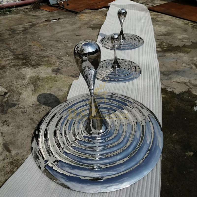 Stainless steel mirror water drop sculpture