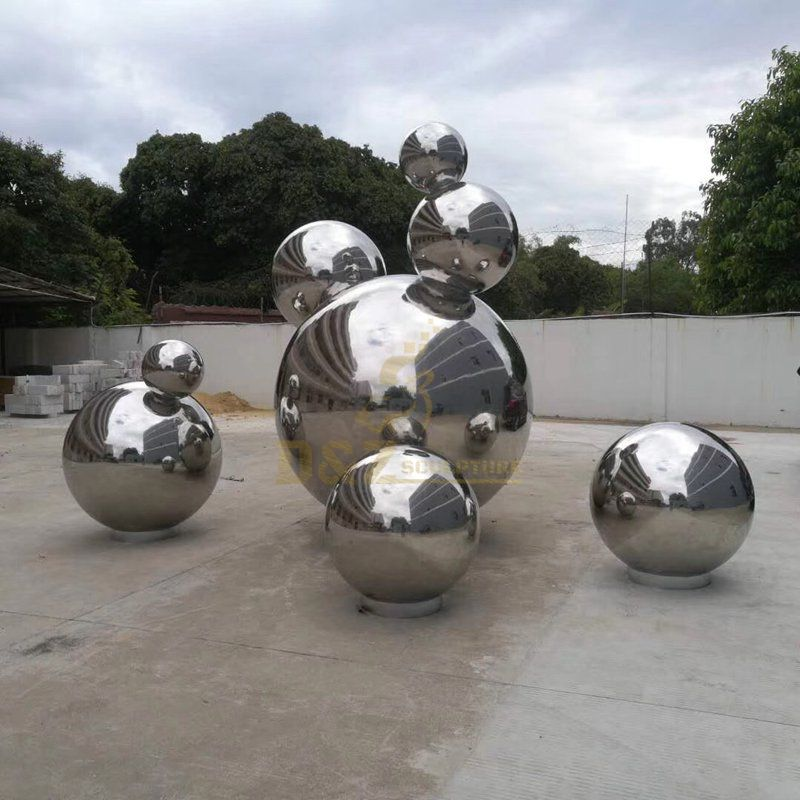 Stainless steel hollow ball outdoor large sculpture