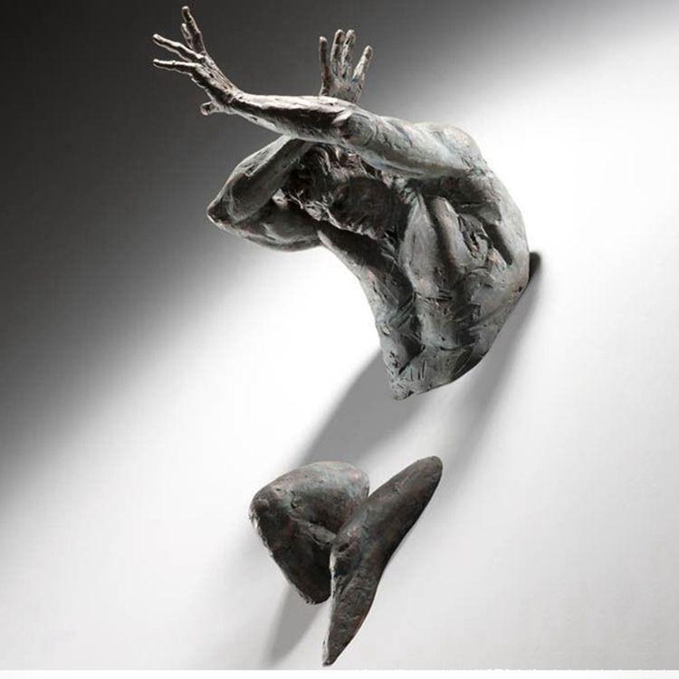 Art for wall Matteo Pugliese sculpture bronze man statue hush