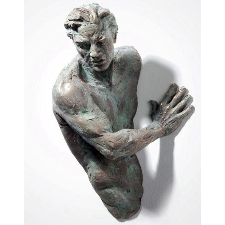 Matteo Pugliese design nude man imbedding wall sculpture