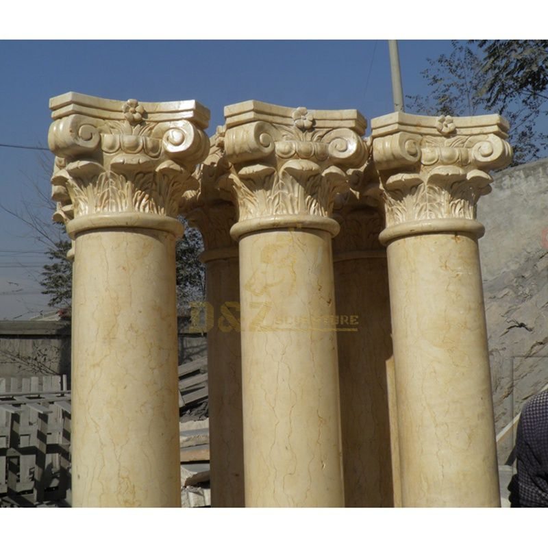 Natural Hand Carved Decorative White Marble Roman Column