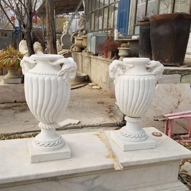 White Marble Garden Cup Stone Flowerpot
