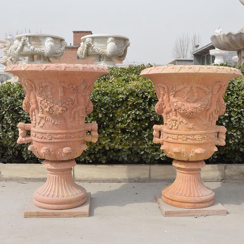 Red Marble Stone Hand-Carving Flowerpot For Decoration