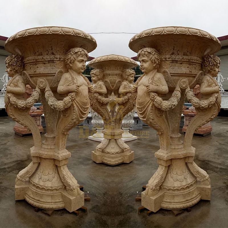 Handmade White Marble Boy Statue Stone Flowerpots