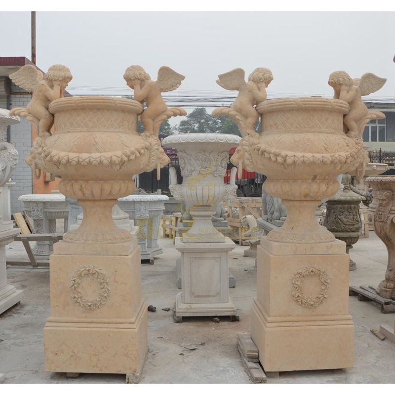 Outdoor Garden Ornament Marble Vase Stone Flowerpot