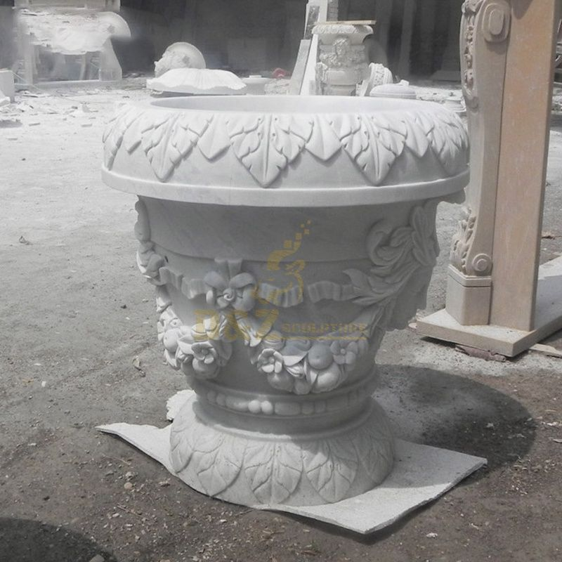 Outdoor Marble Children Statue Garden Stone Flowerpot