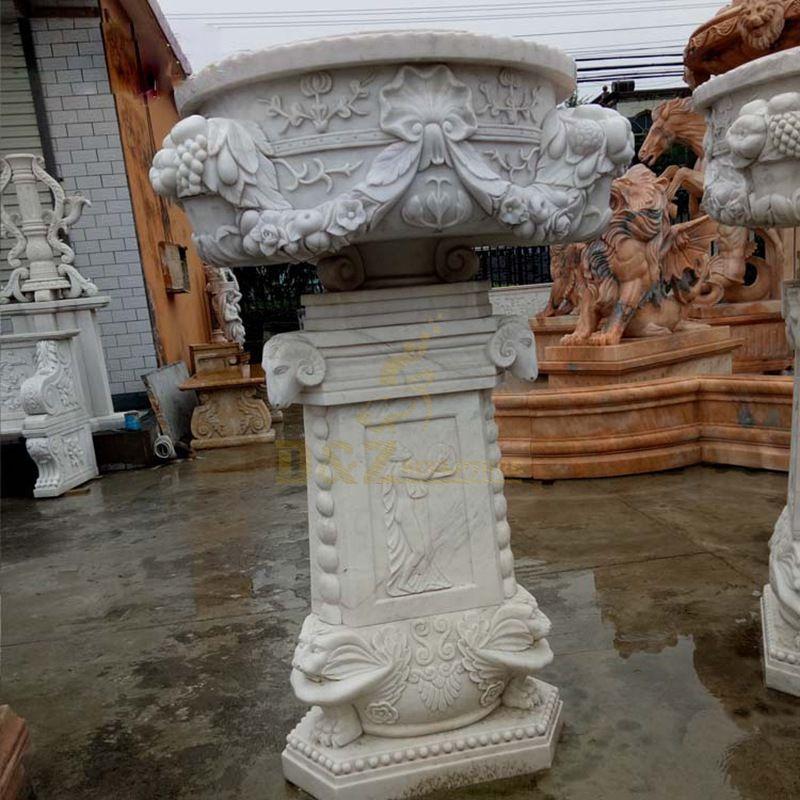 Hand Carved Garden Decorate Marble Stone Flowerpot