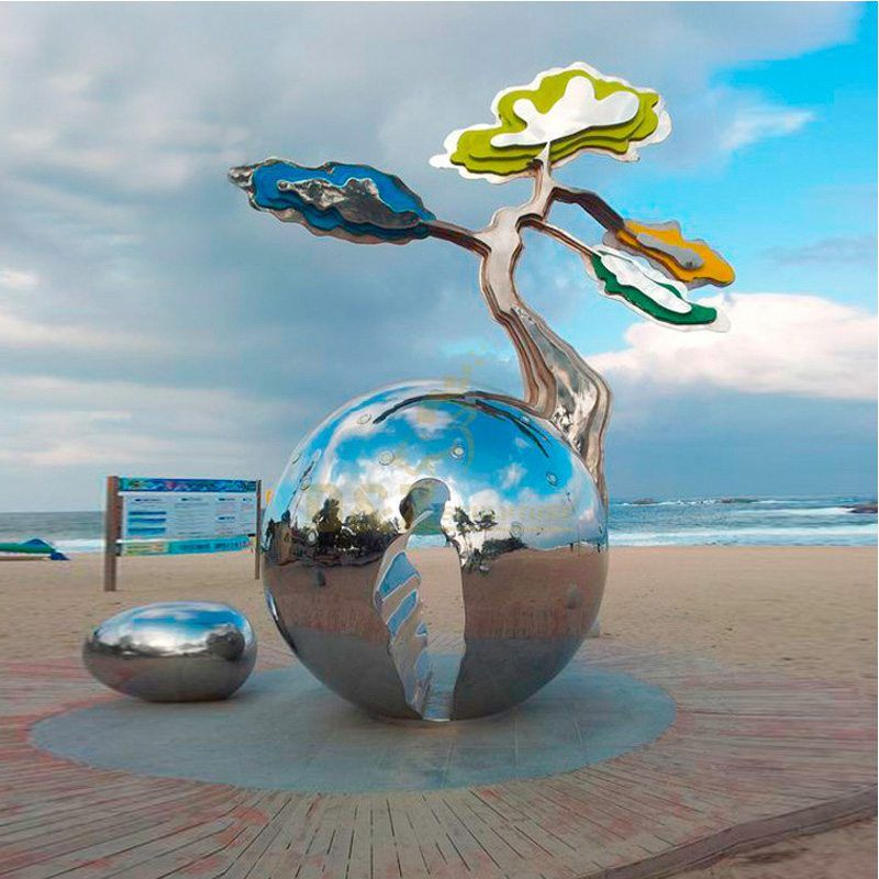 Stainless steel mirror ball tree sculpture