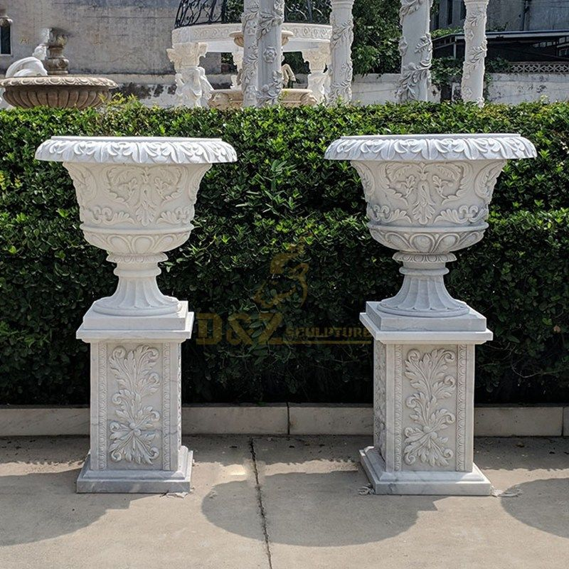 Customized Polished Surface Stone Marble Plant Pot