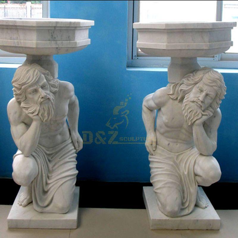 Hand Carving Cherub Angel Sculpture Natural Stone Flowerpot