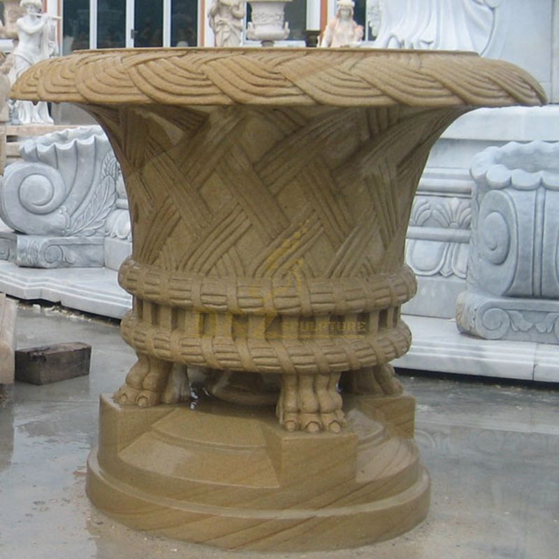 Luxury Hand Carved Natural Stone Flowerpot