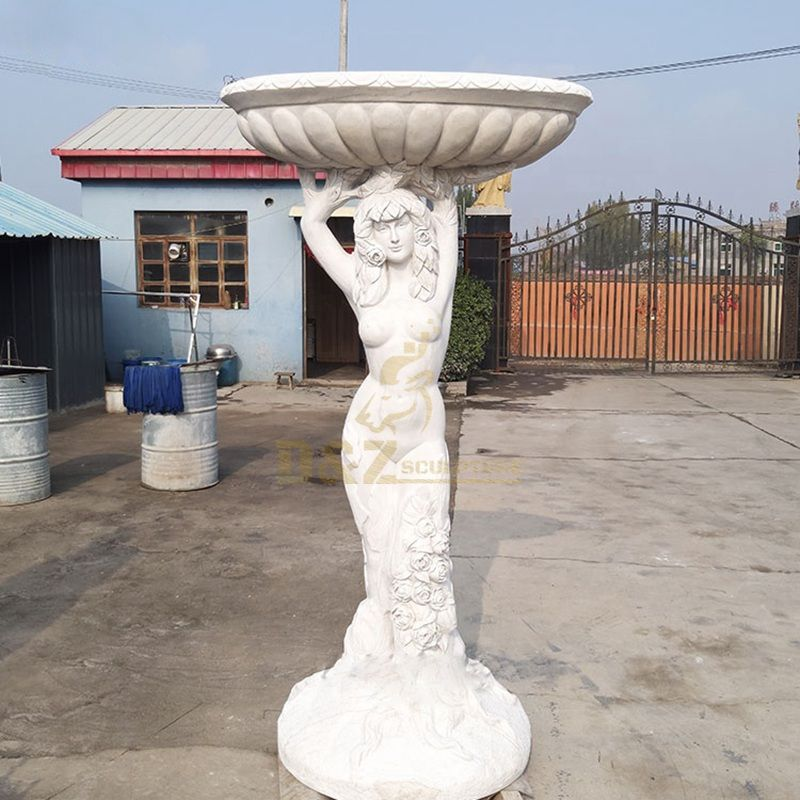 Natural Marble Nude Lady Statue Flowerpot For Outdoor Decoration