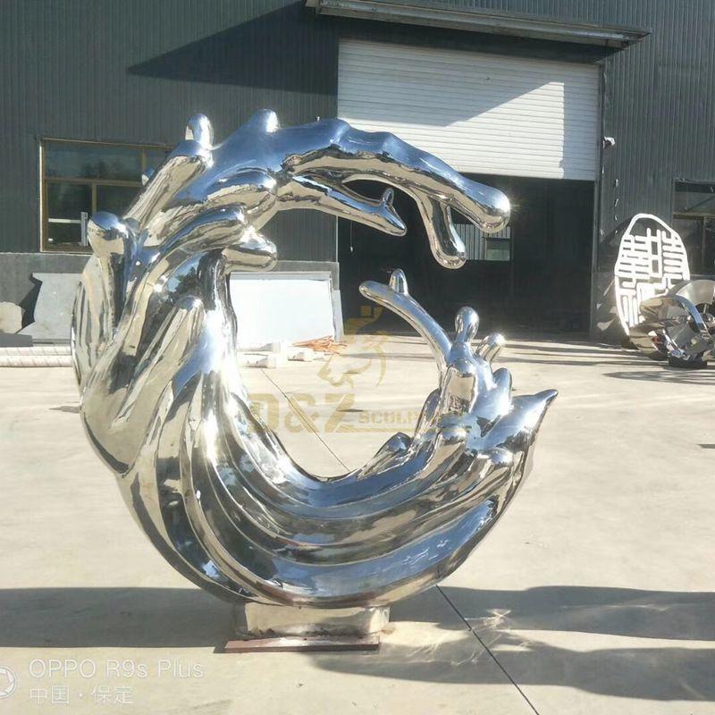 Stainless steel spray water drop sculpture