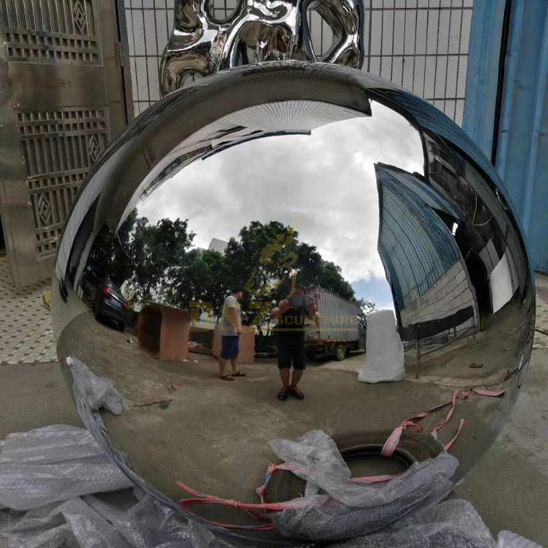 Stainless steel metal polished ball sculpture for garden