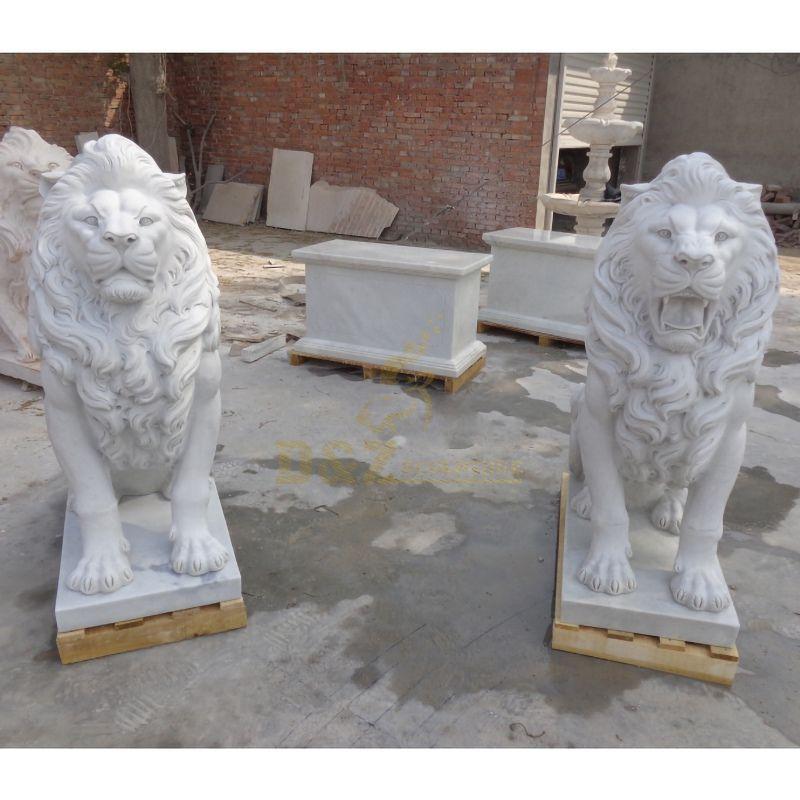 White Garden Sculpture Life Size Carved Stone Pair Animals Lion