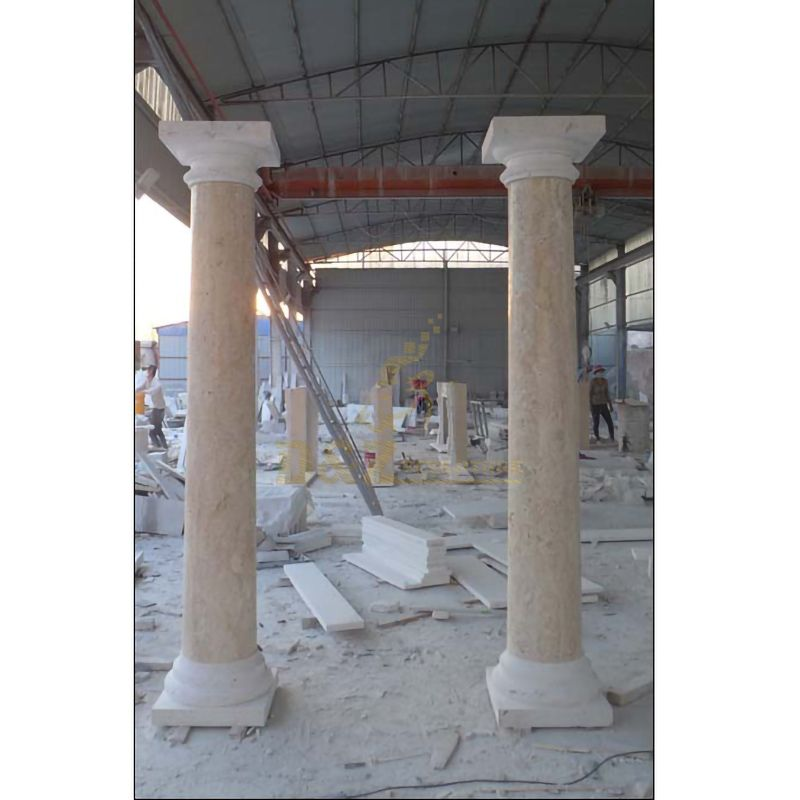 Decorative Roman Style Hand Carved White Cararra Marble Pillars