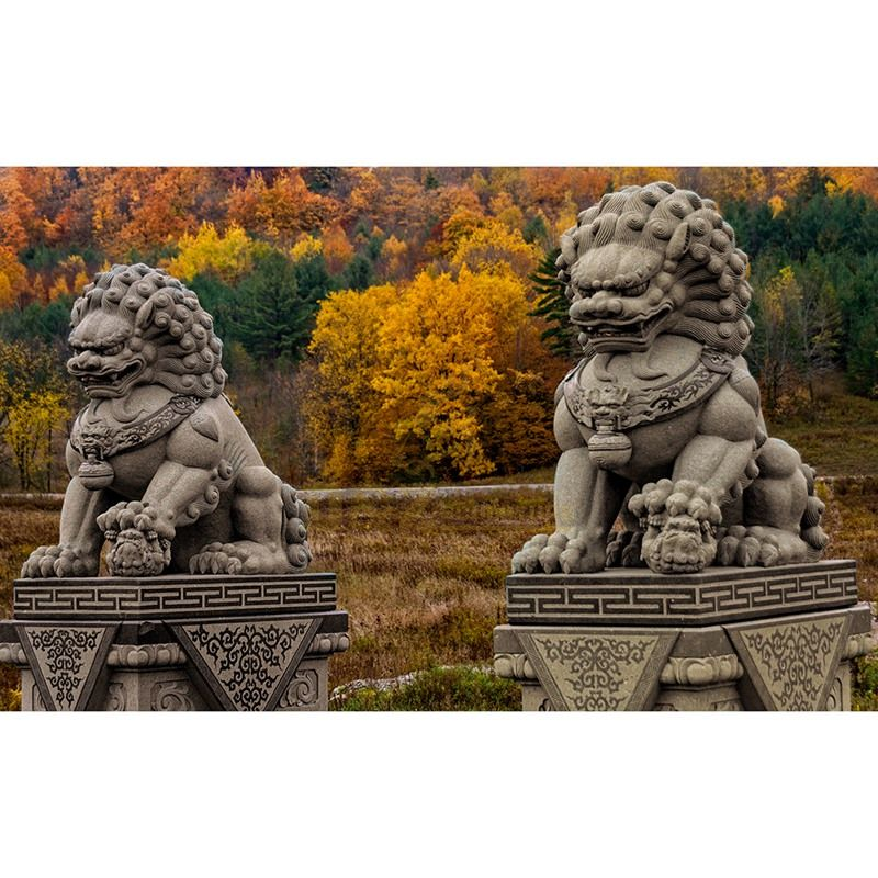Chinese Gate Decoration Antique Stone Lions Statue