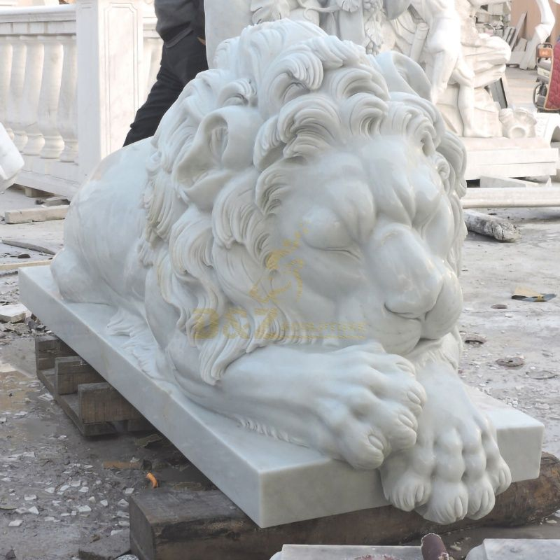 Stone Carving Large White Marble Lying Sleeping Lion Statue Sculpture