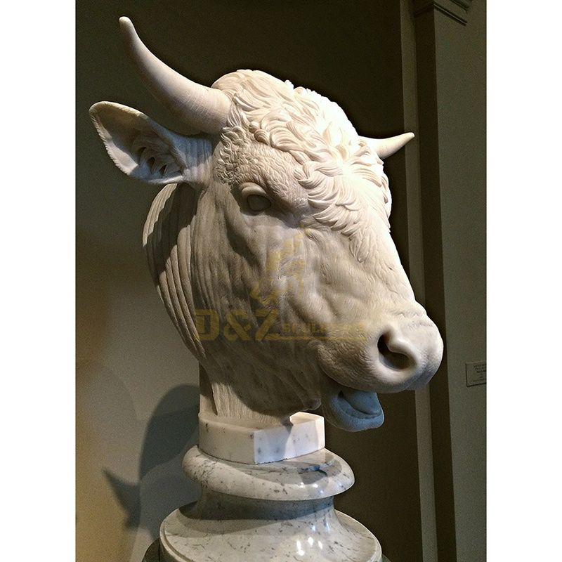 Customized Ornament Stone Marble Bull Head Statue Sculpture Centerpieces