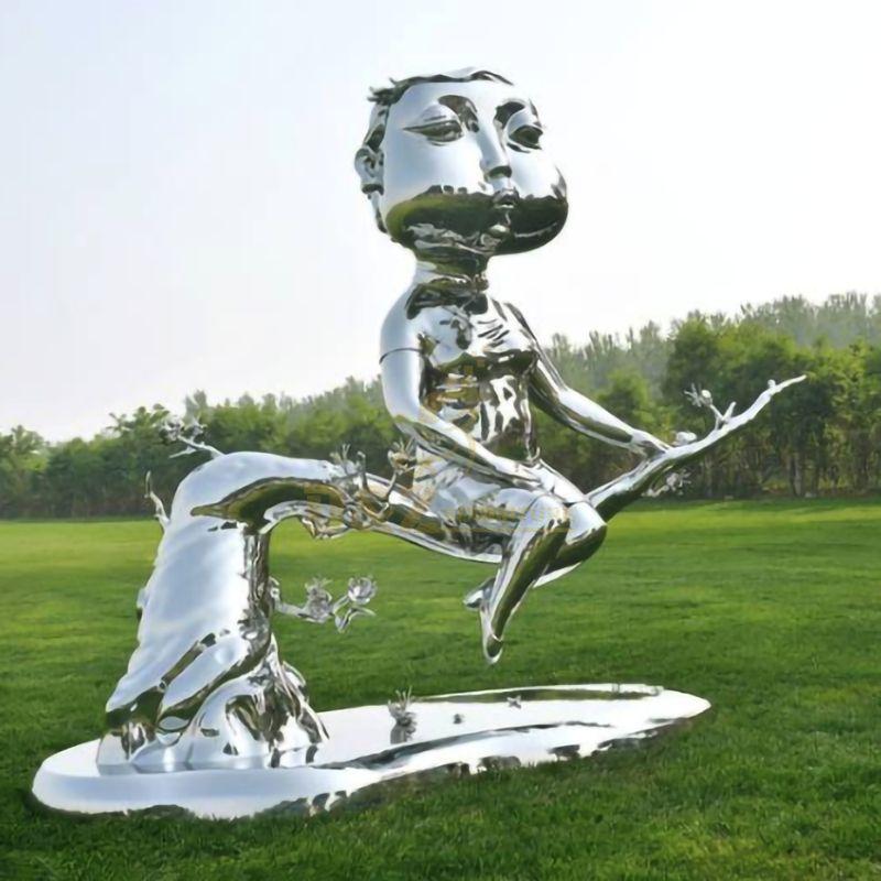 Stainless steel cheongsam woman sculpture