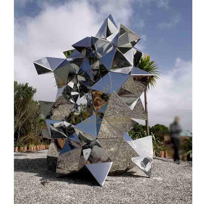 Stainless steel geometric metal sculpture