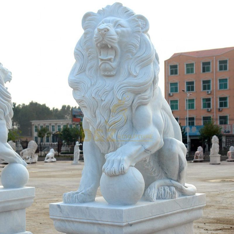 European White Marble Carved Stone Lion Sculpture