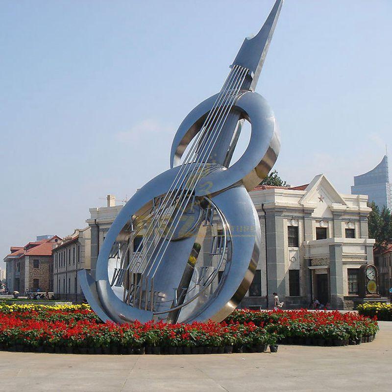 Stainless steel musical instrument sculpture
