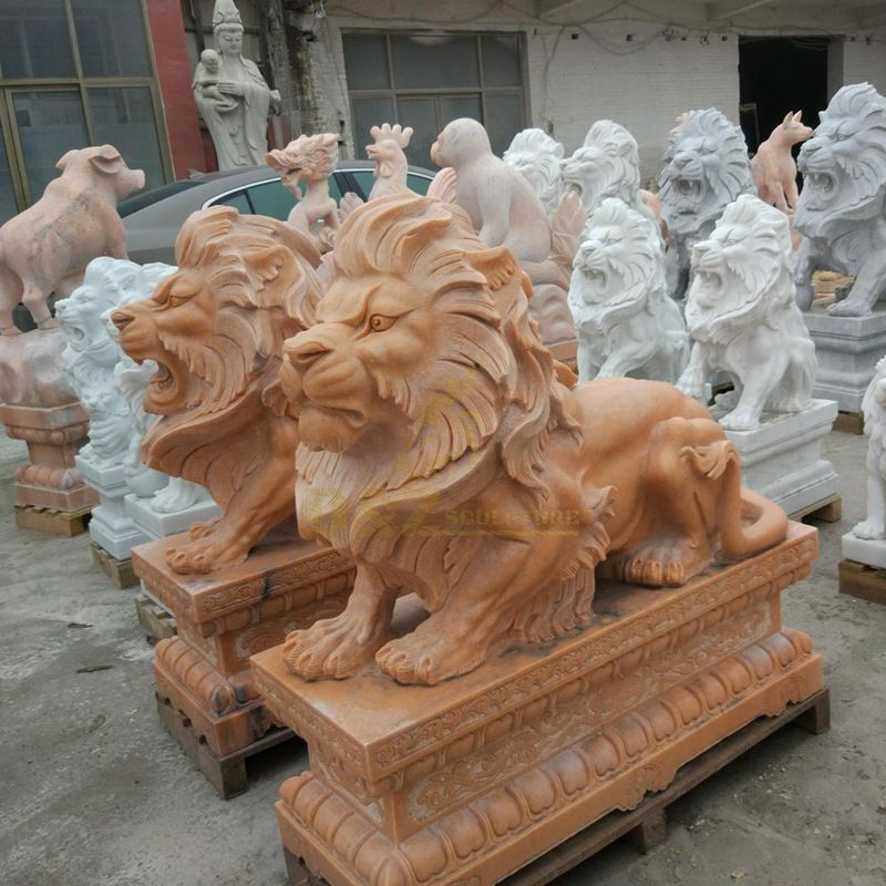 Handmade Sculpture Animal Carving Statue Marble Stone African Lion Climbing Lion