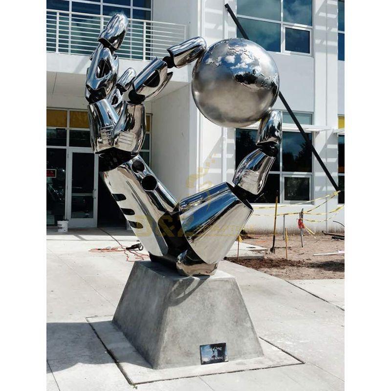 Stainless steel metal hand outdoor sculpture