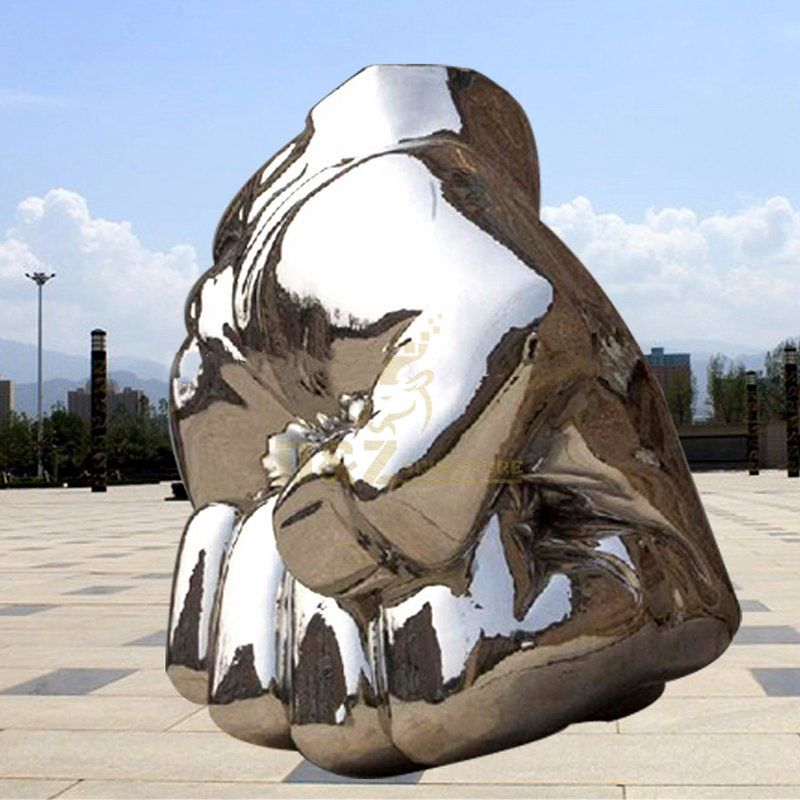 Outdoor decoration large stainless steel hand sculpture