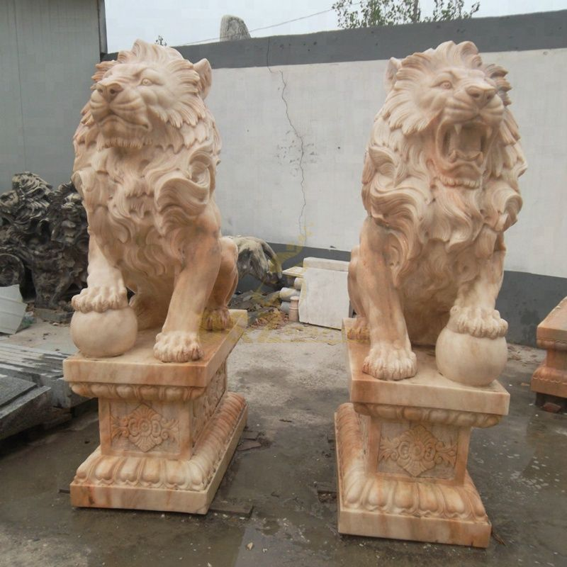 High Quality Stone Lion On Ball Statue For Sale