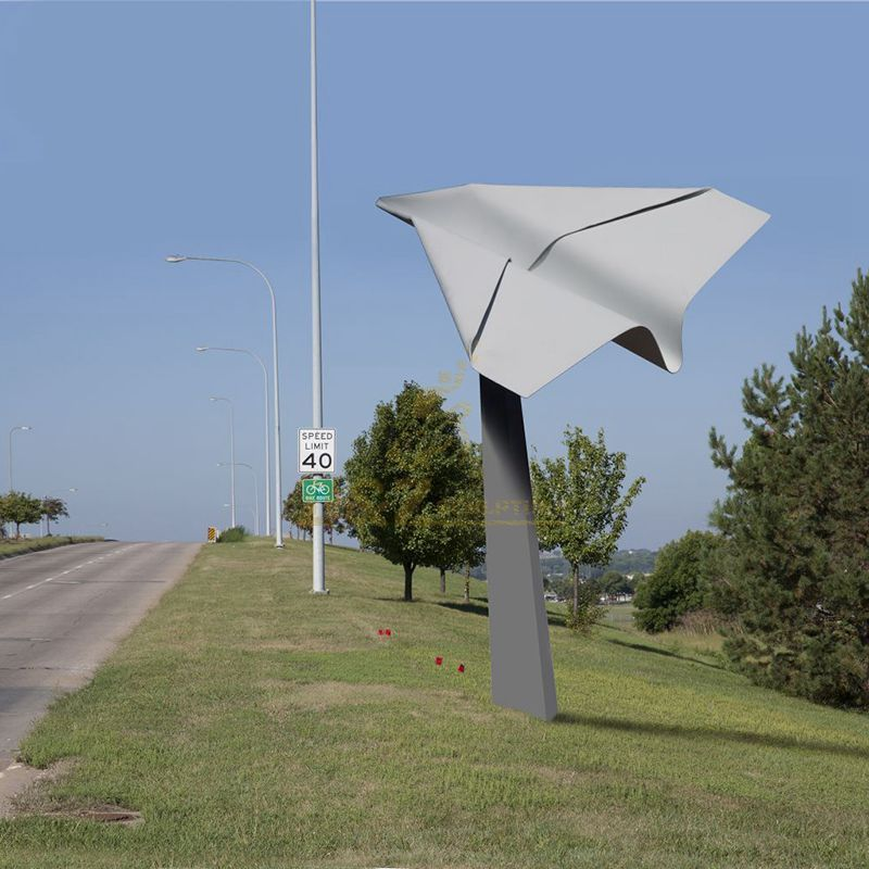 Outdoor large stainless steel airplane sculpture