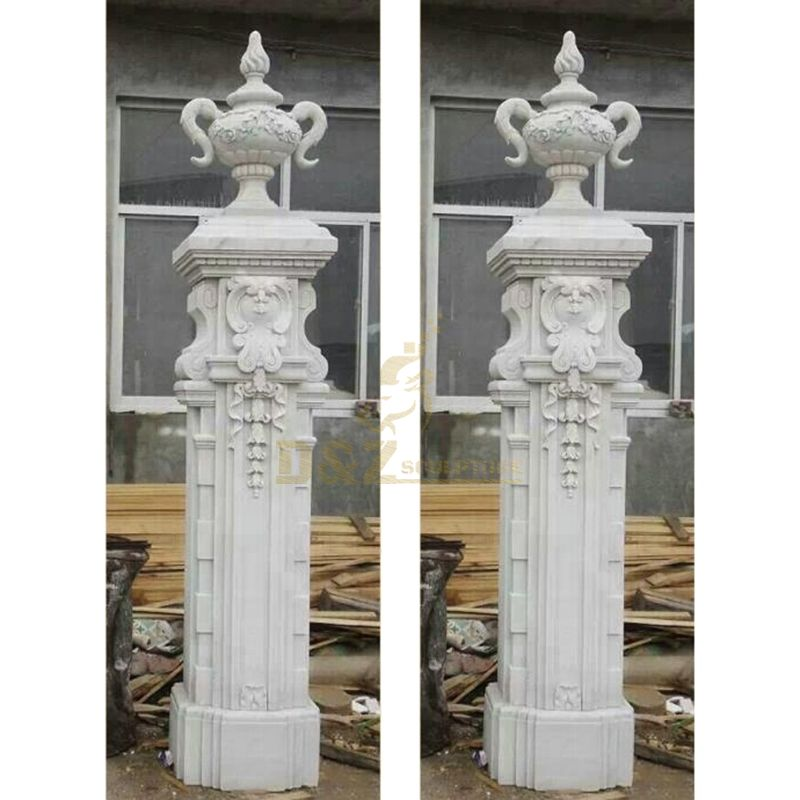 White Marble Natural Stone Column And Pillar For Outdoor Decoration