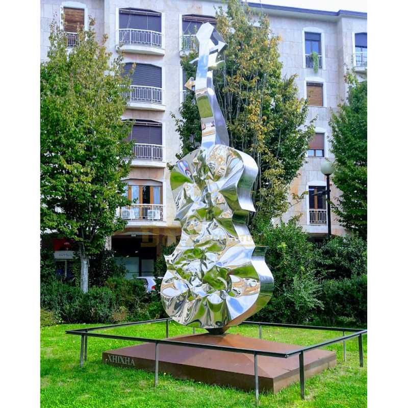 Musical Decoration Stainless Steel Big Guitar Sculpture