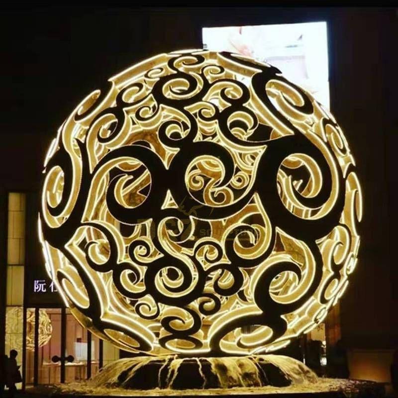 Outdoor stainless steel fountain ball lamp sculpture