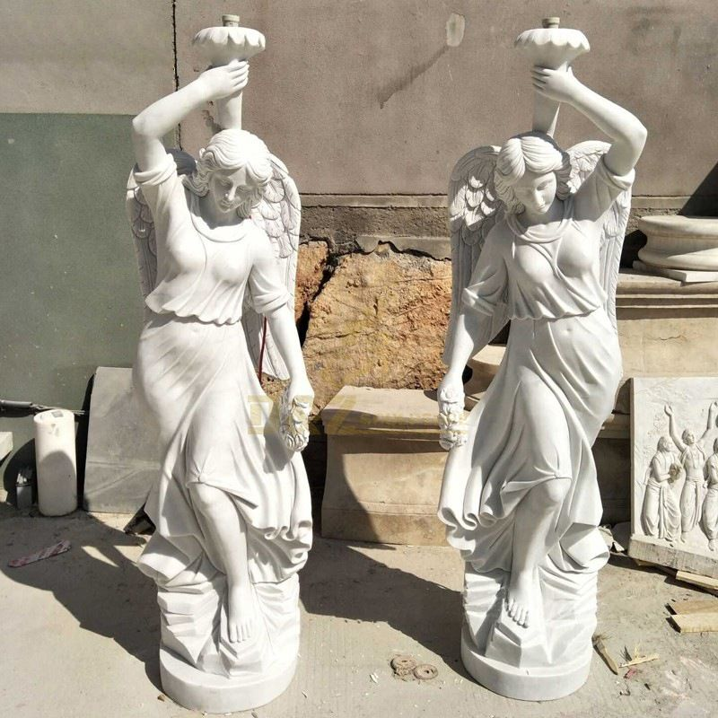 Luxury White Marble Beautiful Lady Statue Stone Column
