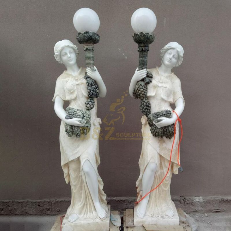 Outdoor Garden Decoration Beautiful Lady Marble Lamp Post Statue With Light