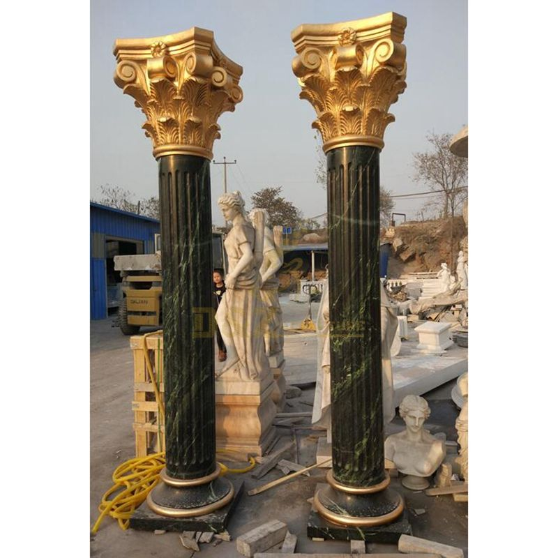 Black Marble Columns For Piazza Decorating