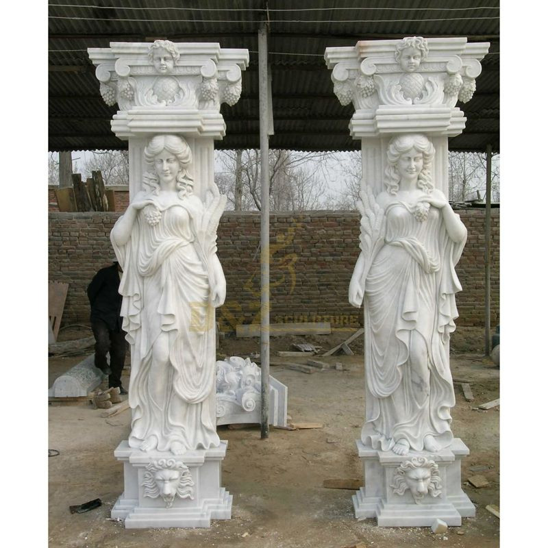 Marble Stone Roman Column With Lady Statue Sculpture